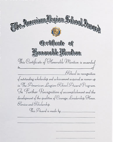 honorable mention certificate template certificates