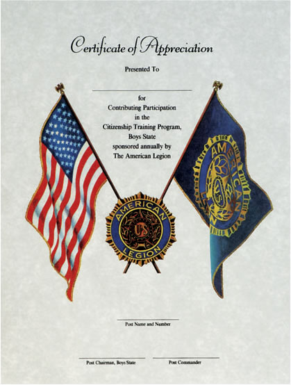 Certificates americanlegionflags boys state certificate of appreciation yadclub Image collections