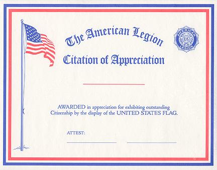 Flag Citation Of Appreciation Americanlegionflags Com